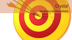 Audience pleasing PPT theme consisting of target success hitting with arrow backdrop and a gold colored foreground.
