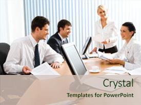 Presentation theme enhanced with team of successful business people background and a soft green colored foreground.