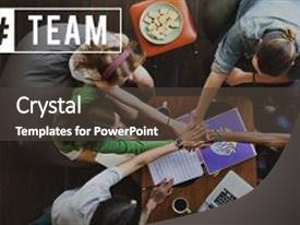 <b>Crystal</b> PowerPoint template with teams - team communication leader team member themed background and a dark gray colored foreground design featuring a [design description].