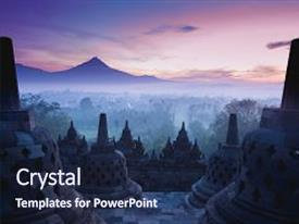 Java powerpoint templates crystalgraphics presentation design featuring temple is sunrise yogyakarta java background and a navy blue colored foreground toneelgroepblik Gallery
