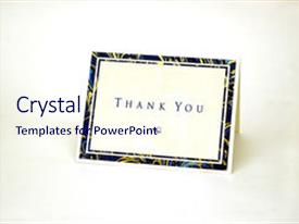 <b>Crystal</b> PowerPoint template with thank you card isolated themed background and a sky blue colored foreground design featuring a [design description].
