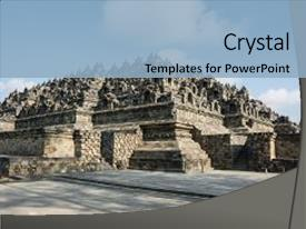 Java culture powerpoint templates crystalgraphics crystal powerpoint template with java culture borobudur buddhist temple themed background and a light blue toneelgroepblik Gallery