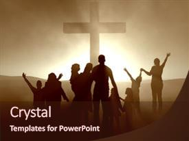 PPT theme consisting of the cross of jesus background and a wine colored foreground.