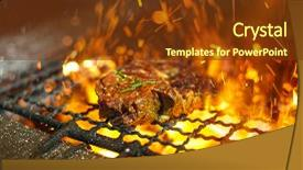 <b>Crystal</b> PowerPoint template with the grill with flame themed background and a tawny brown colored foreground design featuring a [design description].