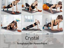 <b>Crystal</b> PowerPoint template with the gym with fitball themed background and a light gray colored foreground design featuring a [design description].