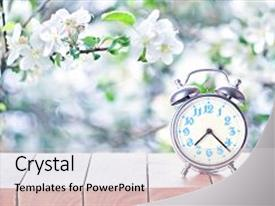 A presentation with clock - spring season background background and a light gray colored foreground.