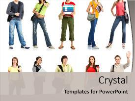 <b>Crystal</b> PowerPoint template with the young smiling students themed background and a light gray colored foreground design featuring a [design description].