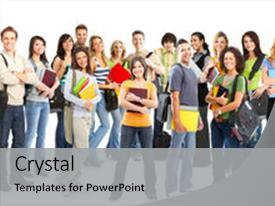 Slide deck featuring the young smiling students background and a light gray colored foreground.