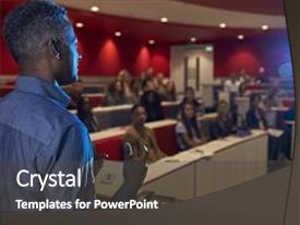 Lecture powerpoint templates crystalgraphics ppt layouts having theater man lecturing students background and a dark gray colored foreground toneelgroepblik Image collections