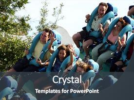 <b>Crystal</b> PowerPoint template with theme park - family on vacation riding themed background and a dark gray colored foreground design featuring a [design description].