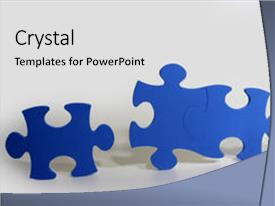 PPT having three blue puzzle pieces backdrop and a light gray colored foreground.