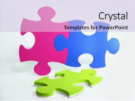 Template enhanced with three colorful puzzle pieces magenta theme and a light blue colored foreground.
