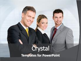 <b>Crystal</b> PowerPoint template with three happy business colleagues standing themed background and a dark gray colored foreground design featuring a [design description].