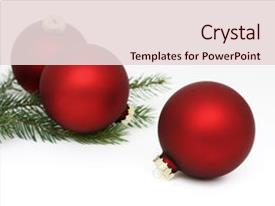 <b>Crystal</b> PowerPoint template with three matte red christmas themed background and a lemonade colored foreground design featuring a [design description].