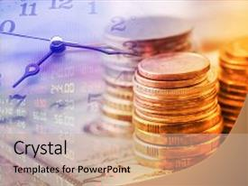Crystal PowerPoint Template With Inflation   Time Value Of Money Themed  Background And A Coral Colored