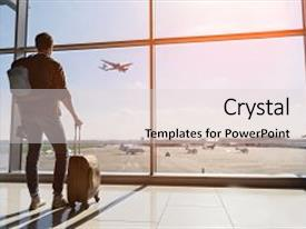 Presentation design with tourist is standing in airport background and a light gray colored foreground.