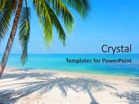 powerpoint template: scenery of beach with ocean waves on beach, Modern powerpoint
