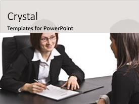 Job interview powerpoint templates crystalgraphics audience pleasing template enhanced with two businesswomen at the interview theme and a light gray colored toneelgroepblik Choice Image
