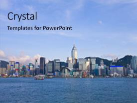 powerpoint template: victoria harbor of hong kong at night with, Modern powerpoint
