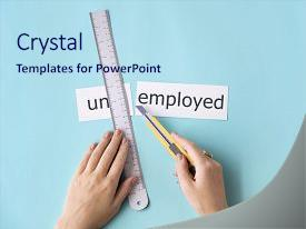 Unemployment powerpoint templates crystalgraphics slide deck consisting of unoccupied unemployment unemployed hand cut background and a sky blue toneelgroepblik Image collections