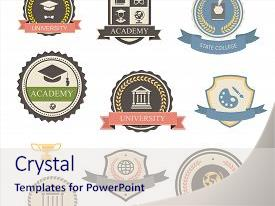 <b>Crystal</b> PowerPoint template with university college and academy heraldic themed background and a sky blue colored foreground design featuring a [design description].