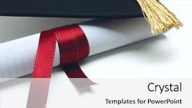 <b>Crystal</b> PowerPoint template with university diploma with a red themed background and a white colored foreground design featuring a [design description].