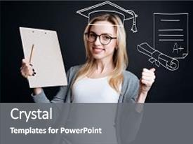 <b>Crystal</b> PowerPoint template with university graduation joyful smart female themed background and a gray colored foreground design featuring a [design description].
