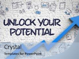 Slides with unlock your potential inscription on background and a light blue colored foreground.