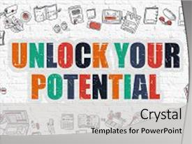 PPT theme having unlock your potential multicolor inscription background and a light gray colored foreground.