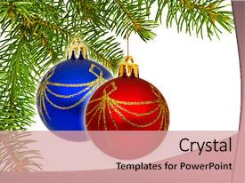 <b>Crystal</b> PowerPoint template with up view of the christmas themed background and a coral colored foreground design featuring a [design description].
