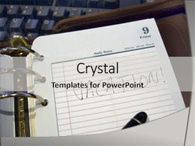 Cool new PPT theme with vacation plans - notebook with keyboard and pen backdrop and a light gray colored foreground.