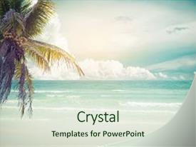 Tropical powerpoint templates crystalgraphics crystal powerpoint template with vintage tropical beach seascape themed background and a soft green colored foreground toneelgroepblik Choice Image