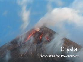 Volcano powerpoint templates crystalgraphics a ppt featuring volcanic landscape active klyuchevskoy image and a gray colored foreground toneelgroepblik Gallery