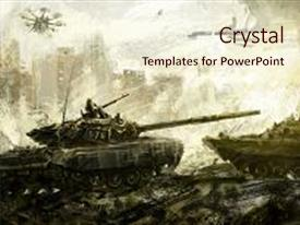 Digital art powerpoint templates crystalgraphics presentation enhanced with brush fire war battle tank digital art theme and a lemonade colored toneelgroepblik Images