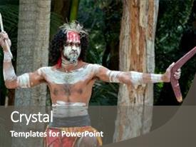 Culture powerpoint templates crystalgraphics colorful slide set enhanced with warrior man preform aboriginal backdrop and a gray toneelgroepblik Image collections