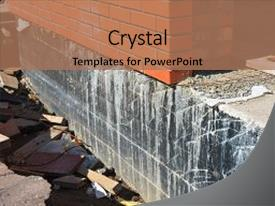 <b>Crystal</b> PowerPoint template with waterproofing foundation walls foundation waterproofing themed background and a coral colored foreground design featuring a [design description].