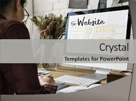 <b>Crystal</b> PowerPoint template with web design creative design creativity themed background and a light gray colored foreground design featuring a [design description].