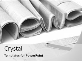 <b>Crystal</b> PowerPoint template with white background concept of business themed background and a white colored foreground design featuring a [design description].