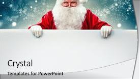 <b>Crystal</b> PowerPoint template with white blank sign christmas themed background and a white colored foreground design featuring a [design description].