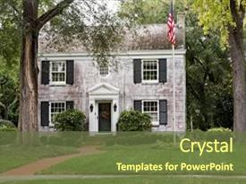 Colonial powerpoint templates crystalgraphics crystal powerpoint template with white brick georgian colonial house themed background and a tawny brown colored toneelgroepblik Gallery