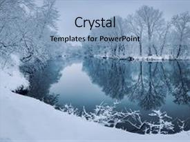 <b>Crystal</b> PowerPoint template with winter forest on the river themed background and a light blue colored foreground design featuring a [design description].