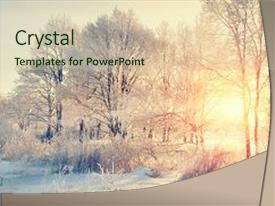 <b>Crystal</b> PowerPoint template with winter trees tranquil winter nature themed background and a soft green colored foreground design featuring a [design description].