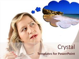 Slide deck featuring woman thinking about a vacation background and a lemonade colored foreground.