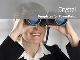 Theme having women looking through binocular - business background and a gray colored foreground.