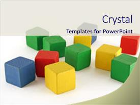 <b>Crystal</b> PowerPoint template with wooden childen s building blocks themed background and a sky blue colored foreground design featuring a [design description].