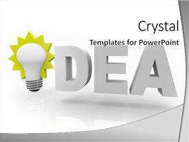 <b>Crystal</b> PowerPoint template with word idea with an illuminated themed background and a white colored foreground design featuring a [design description].