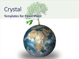 PPT layouts consisting of world globe with plant growing background and a sky blue colored foreground.