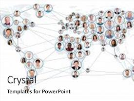 Audience pleasing presentation enhanced with world map global business theme and a white colored foreground.