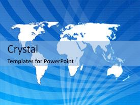 <b>Crystal</b> PowerPoint template with world map on a blue themed background and a light blue colored foreground design featuring a [design description].