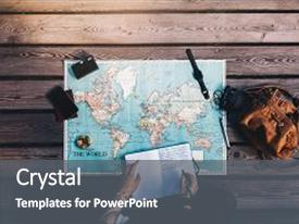 PPT layouts with world map with travel background and a gray colored foreground.